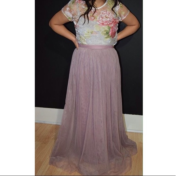 c3ad3d901afeee House Of Hannah Skirts | Transparent Floral Blouse Tulle Maxi Skirt ...